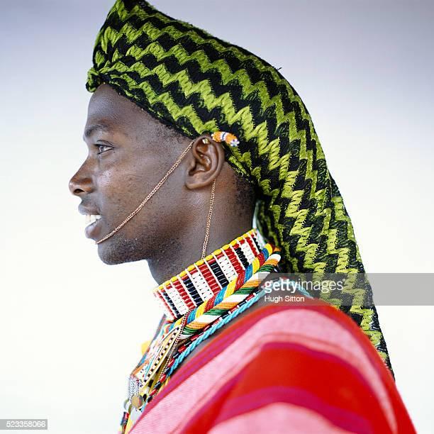 portrait of samburu warrior - hugh sitton stock-fotos und bilder