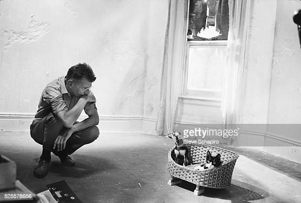Portrait of Samuel Beckett on the set of his movie, Film.