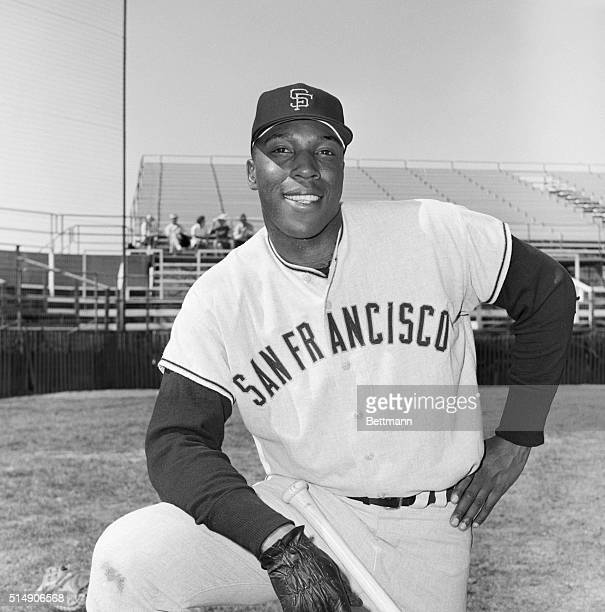 Portrait of San Francisco Giants' outfielder Willie McCovey standing in uniform with knee raised and hand on hip