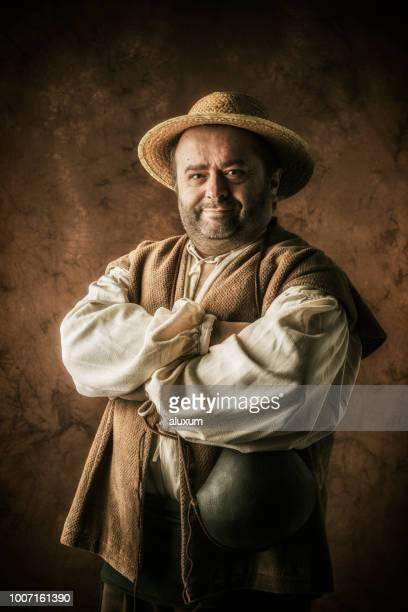 retrato de sancho panza, escudero de don quijote - don quijote de la mancha fotografías e imágenes de stock