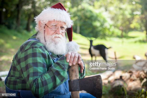Portrait of Santa Claus resting on a ax after wood cutting on a meadow