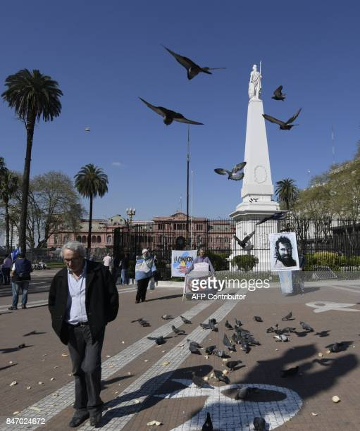 A portrait of Santiago Maldonado disappeared on August 1st during a Mapuche protest in Chubut province is placed at the bottom of the May's Pyramid...