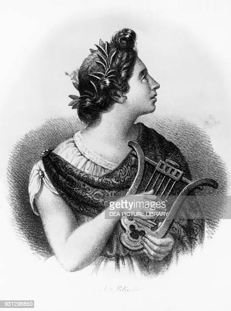 Portrait of Sappho archaic Greek poet lithograph