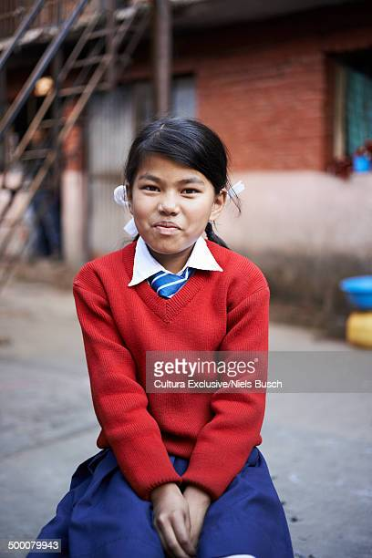 Portrait of schoolgirl in uniform, Thamel, Kathmandu, Nepal