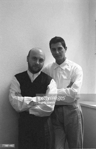 Portrait of Scilian-born Italian fashion designer Domenico Dolce and Italian fashion designer Stefano Gabbana, of Dolce & Gabbana, mid 1990s.