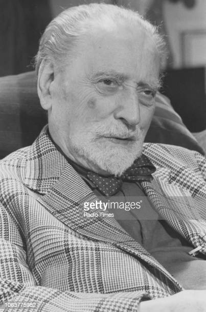 Portrait of Scottish author Sir Compton Mackenzie, photographed for Radio Times in connection with the television program 'First Person Singular',...