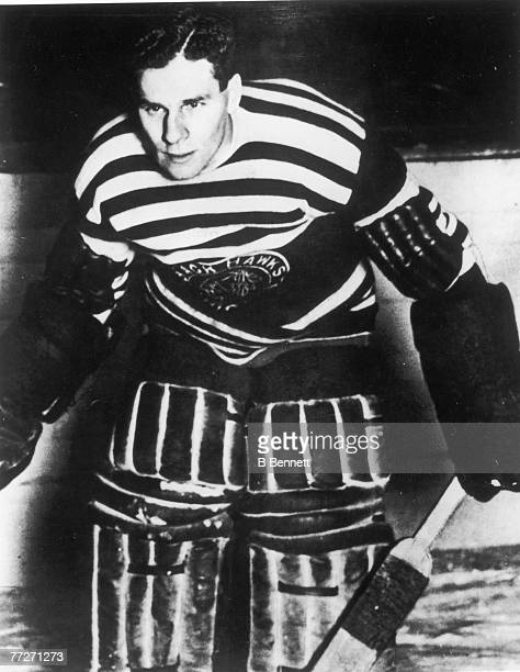 Portrait of Scottish ice hockey player Chuck Gardiner, goalkeeper for the Chicago Blackhawks, late 1920s or early 1930s.