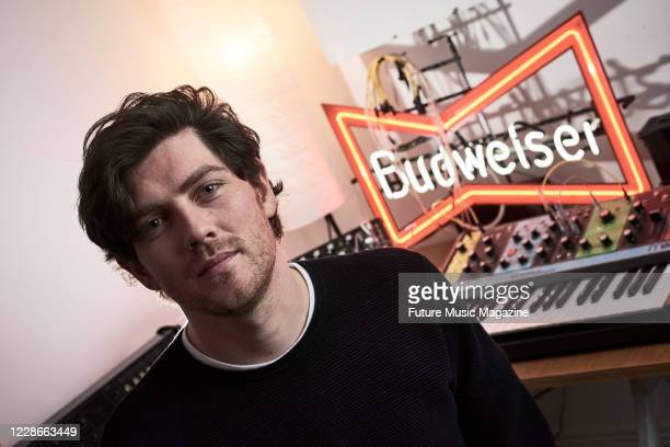 Portrait of Scottish musician Sam McTrusty, guitarist and vocalist with alternative rock group Twin Atlantic, photographed at the bands studio in...