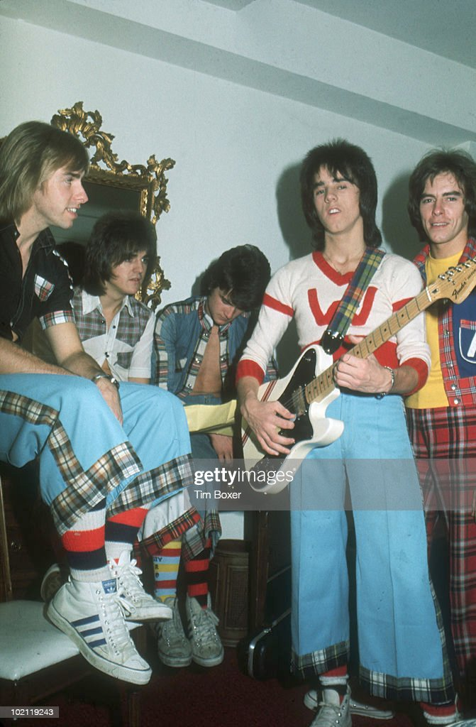 Portrait of Scottish pop group the Bay City Rollers as they pose in a room at the Westbury Hotel while on their vist trip to the US, New York, New York, September 30, 1975. Pictured are, from left, Derek Longmuir, Eric Faulkner, Les McKeown, Stuart 'Woody' Wood, and Alan Longmuir.