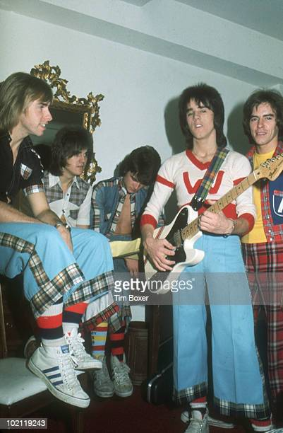 Portrait of Scottish pop group the Bay City Rollers as they pose in a room at the Westbury Hotel while on their vist trip to the US New York New York...