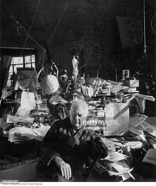 Portrait of sculptor Alexander Calder January 3 1957 in his studio in Woodbury Connecticut