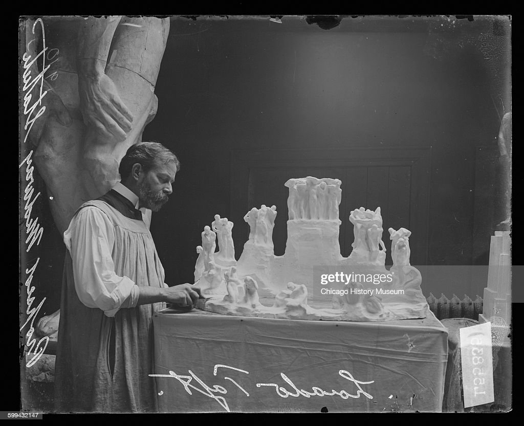 Lorado Taft Working On A Small Model Of His Proposed Midway Statue : News Photo