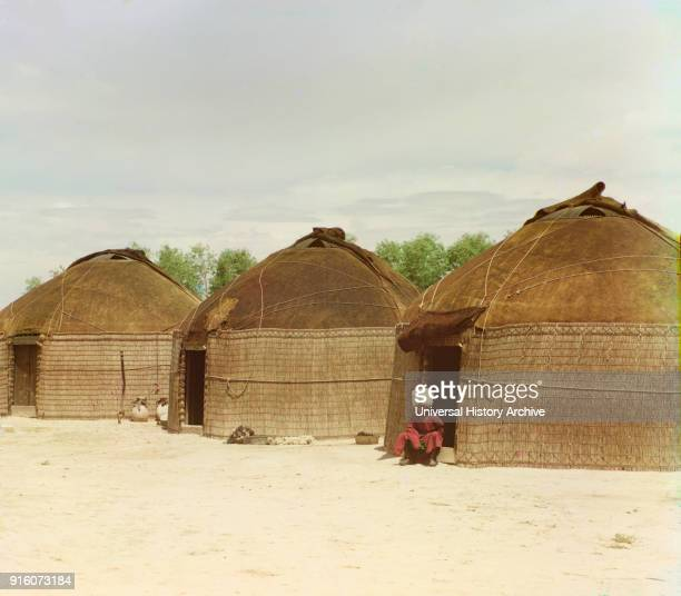 Portrait of Seated Man and Three Tekin Yurts BairamAli area Turkmenistan Russian Empire ProkudinGorskii Collection 1910