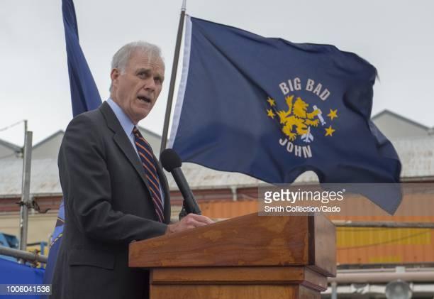 Portrait of Secretary of the Navy Richard V Spencer speaking at a podium July 12 2018 Image courtesy Petty Officer 2nd Class John Harris/Commander US...