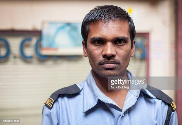 Portrait of security guard, Delhi