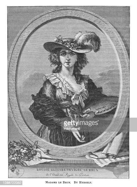 portrait of self-portrait with straw hat, 1782 (madame le brun), by élisabeth vigée le brun - the royal photographic society stock pictures, royalty-free photos & images