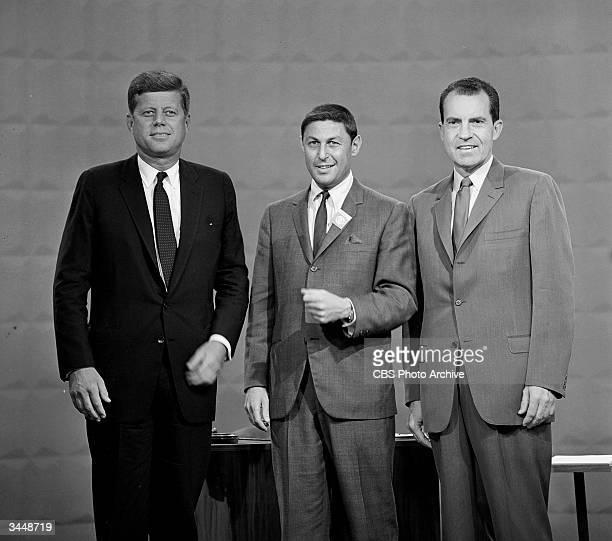 Portrait of Senator John F Kennedy Don Hewitt of CBS News and Vice President Richard M Nixon at the first televised presidential debate September 25...