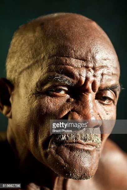 Portrait of senior black man at Agrovila Maruda a Quilombo in Alcantara Maranhao State Northeastern Brazil A quilombo is a Brazilian hinterland...