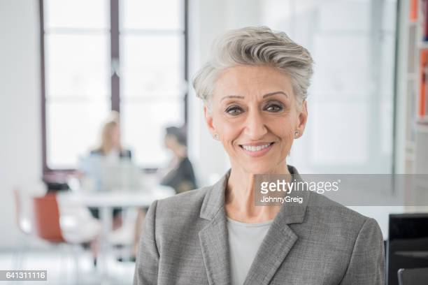 portrait of senior businesswoman with grey hair - 60 69 years stock photos and pictures