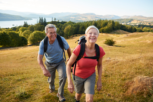 Portrait Of Senior Couple Climbing Hill On Hike Through Countryside In Lake District UK Together 1049858104