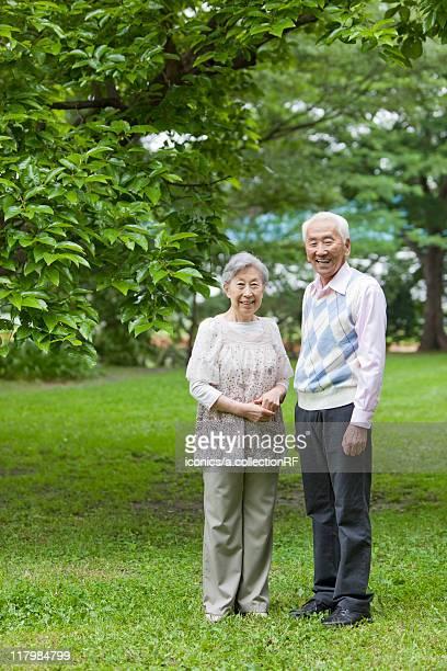 Portrait of senior couple, Tokyo Prefecture, Honshu, Japan