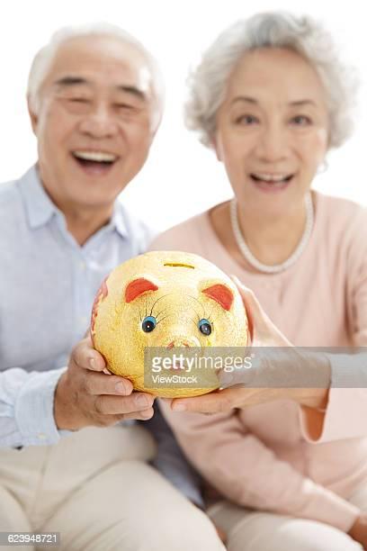 Portrait of senior couple with piggy bank