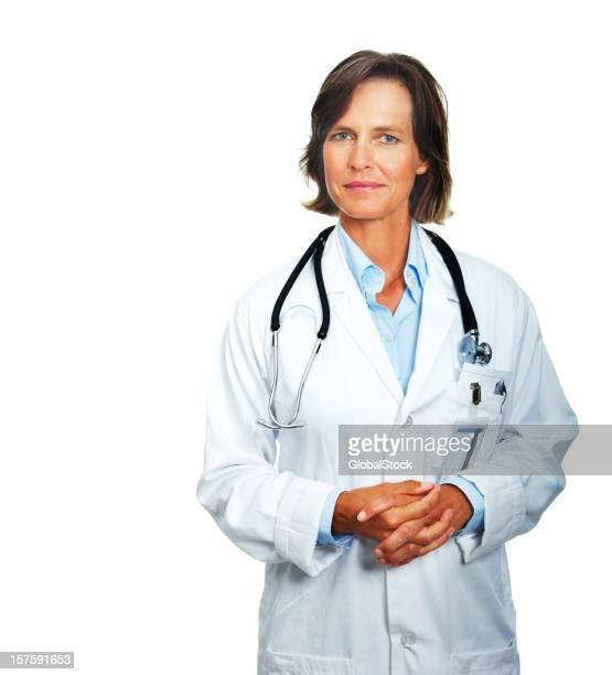 Retrato de un senior médico sobre fondo blanco