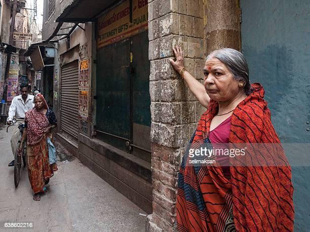 Portrait Of Senior Indian Woman On The Setreet