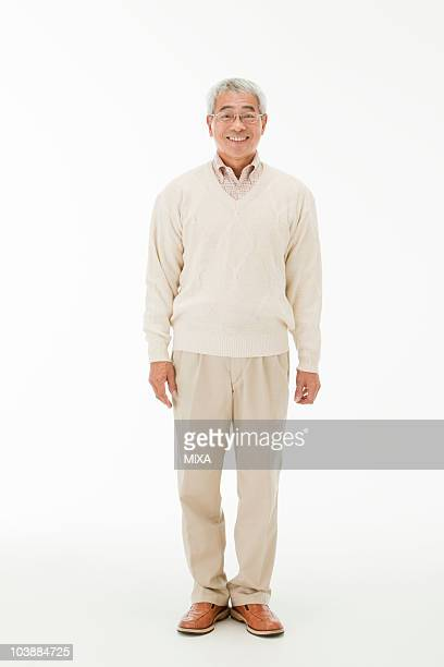 portrait of senior man - japanese old man stock pictures, royalty-free photos & images