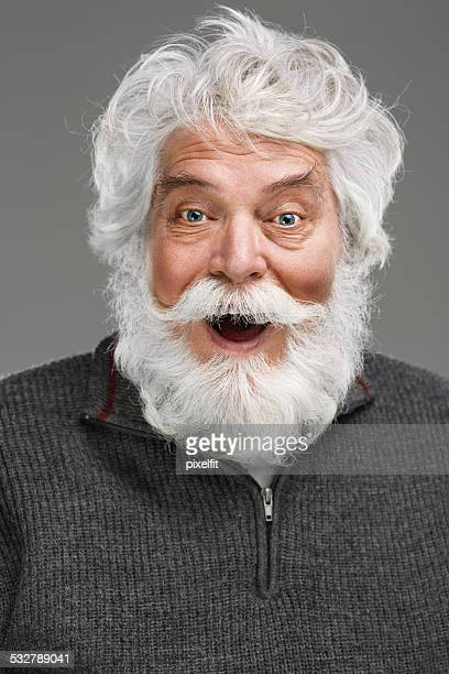 portrait of senior man with white beard and mustache - beard stock pictures, royalty-free photos & images