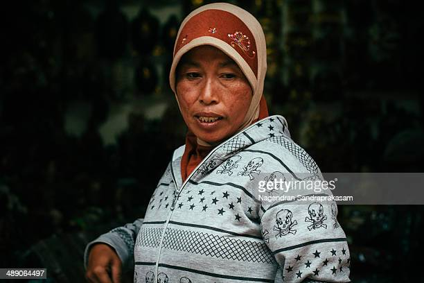 Portrait of senior Muslim women wearing headscarf in Bali, Indonesia.