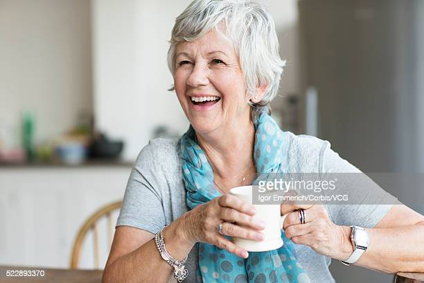 Portrait of senior woman drinking tea