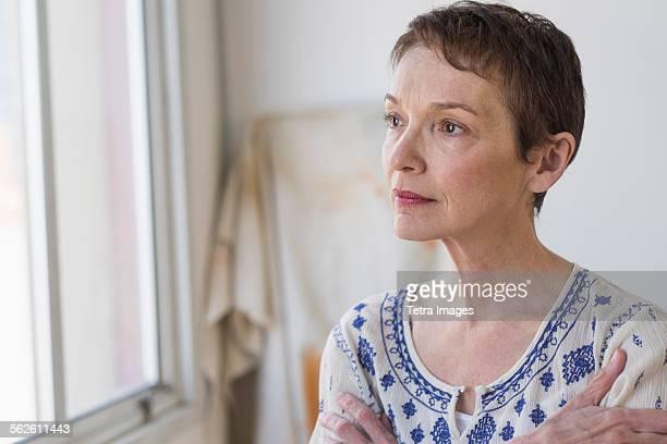 Portrait of senior woman indoors