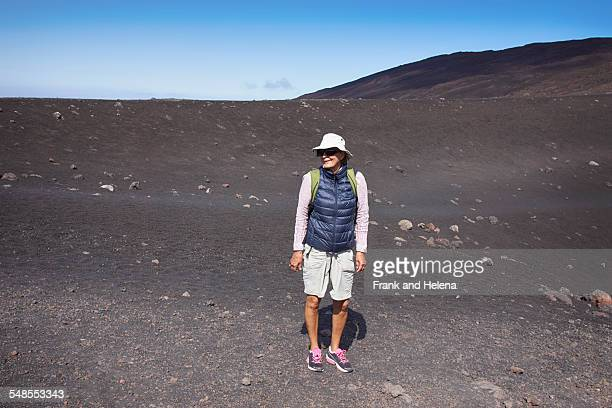 portrait of senior woman on mount etna, catania, sicily, italy - frank catania stock pictures, royalty-free photos & images