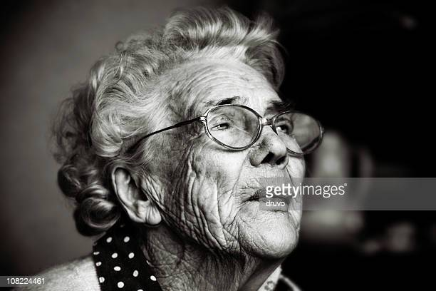 Portrait of Senior Woman Wearing Glasses, Black and White