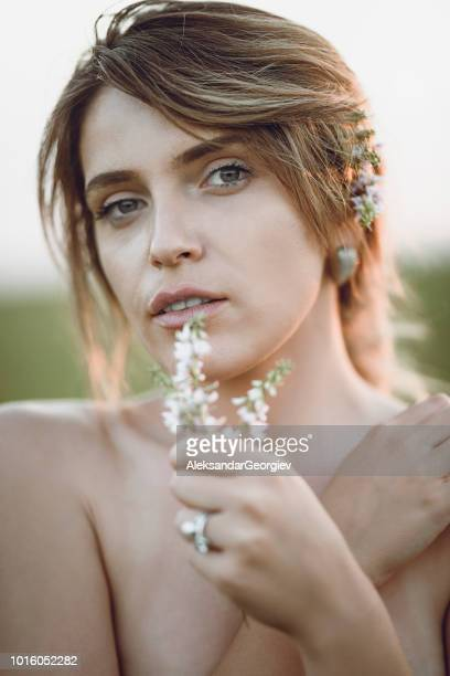 Portrait Of Sensual Female Enjoying Outdoor Nature