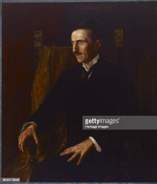 Portrait of Serbian-American inventor and engineer Nikola Tesla by Hungarian princess Vilma Lwoff-Parlaghy, 1916. The painting is known as the 'blue...