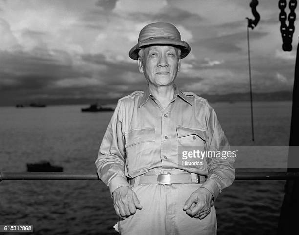 A portrait of Sergio Osmena the President of the Philippine Commonwealth on a ship in the south Pacific[] ca 1940s | Location on a ship in the south...