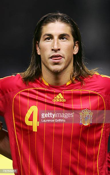 Portrait of Sergio Ramos of Spain as the teams line up for the national anthems, prior to the start of the International Friendly match between...