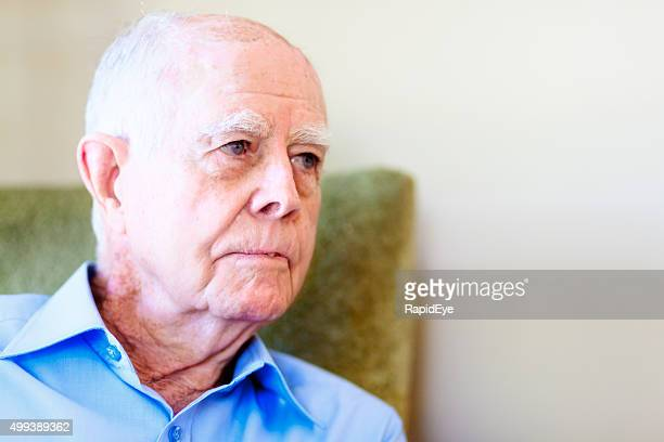 portrait of serious 90 year old man - liver spot stock photos and pictures