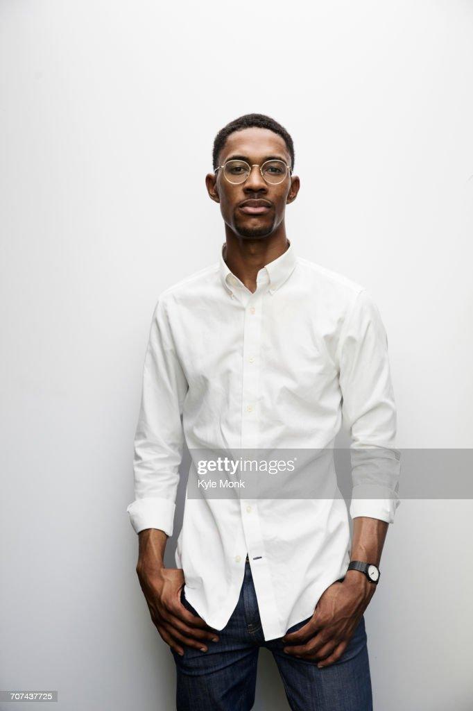 Portrait of serious Black man wearing eyeglasses : Stock Photo