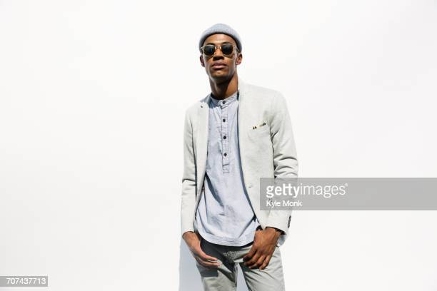 Portrait of serious Black man wearing sunglasses