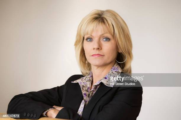 Portrait of serious Caucasian businesswoman