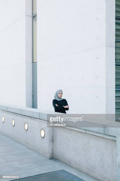 Portrait of serious muslim woman.