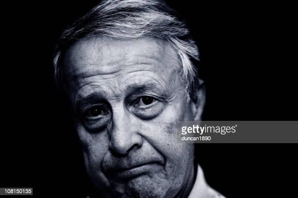 Portrait of Serious Senior Man, Black and White