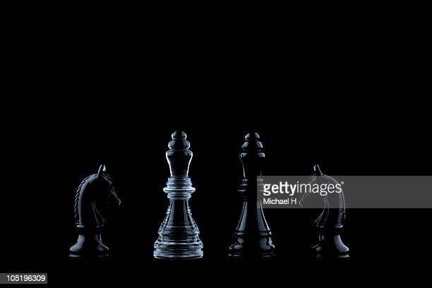 Portrait of several chess pieces