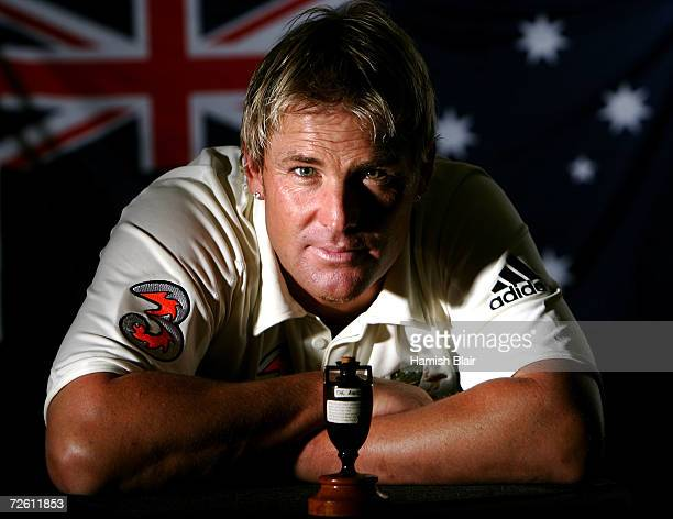 A portrait of Shane Warne of Australia taken during the Australian cricket team portrait session on August 29 2006 at the Hyatt Regency at Coolum...
