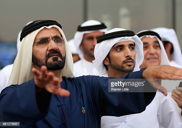 Portrait of Sheikh Mohammed bin Rashid Al Maktoum ruler of Dubai looks on during the Dubai World Cup at the Meydan Racecourse on March 29, 2014 in...