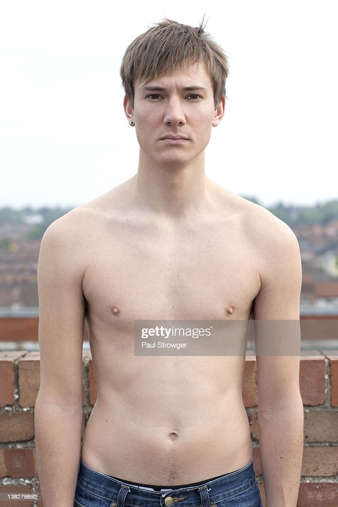 Portrait of shirtless man : Stock Photo