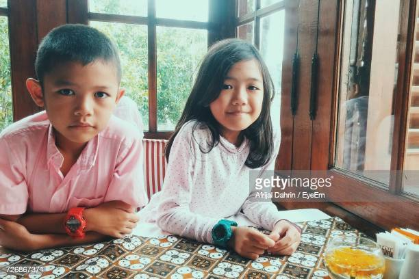 Portrait Of Siblings Leaning On Table By Windows At Home